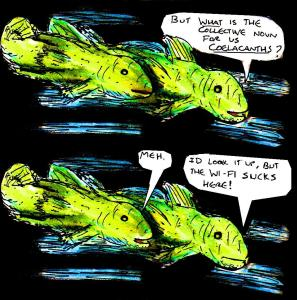 "[CLICK FOR LARGER IMAGE] ""Conversing Coelacanths"" By C. A. Brown"
