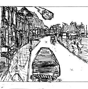 """""""Aberystwyth - Cyberpunk Coast ( Line Art)"""" By C. A. Brown"""
