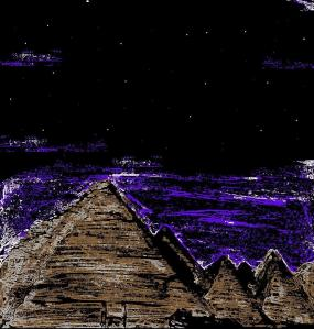 """Purple Sky Pyramids"" By C. A. Brown [This digitally-edited painting was made in about twenty minutes as one of two emergency filler paintings I made so that I could start a comic on a particular day. After I'd made it, I realised that I only needed to make one filler painting, so this one got dropped.]"