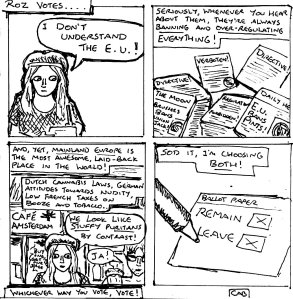"""Damania Referendum - Roz Votes (Line Art)"" By C. A. Brown"