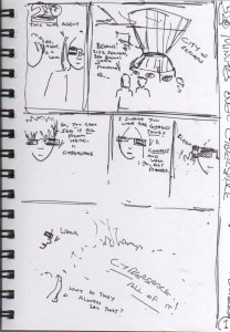 [CLICK FOR LARGER IMAGE] This is my failed rough plan for a comic project idea I had.