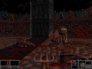 "On the plus side, this hilariously unfair part of the level showed me that, yes, ""Blood"" DOES include monster infighting! However, it is significantly harder to get it to happen than it is in ""Doom"" or ""Quake""!"