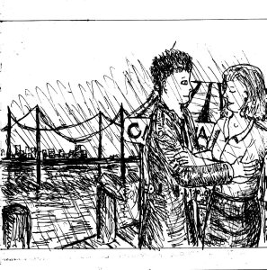 """Couple By The Pier (Line Art)"" By C. A. Brown"