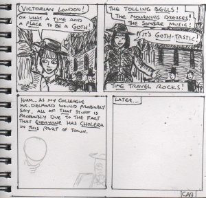 [CLICK FOR LARGER IMAGE] As you can see from the unfinished comic, I usually like to add the dialogue first, then sketch the art in pencil, before adding ink and moving on to the next panel.