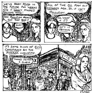 """Damania Retrofuturistic - Conspiracy Anoraks (Line Art)"" By C. A. Brown"