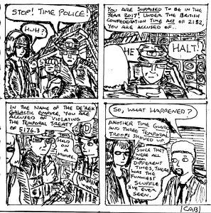 """Damania Retrofuturistic - Time Police (Line Art)"" By C. A. Brown"