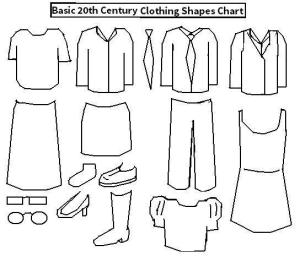 [CLICK FOR LARGER IMAGE]. Here are the basic shapes of a lot of elements of 20th century clothing, but thinking about it, the sleeves on the shirts should probably be slightly longer.