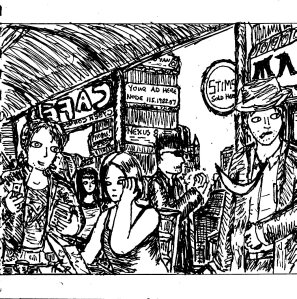 """Cafe Cyberpunk [Line Art]"" By C. A. Brown"