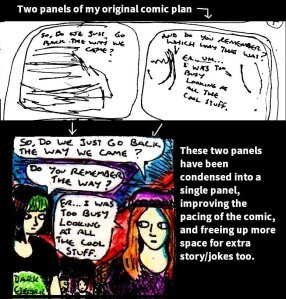 [CLICK FOR LARGER IMAGE] This is an example of how I condensed two panels of my plans for an upcoming comic into a single panel.