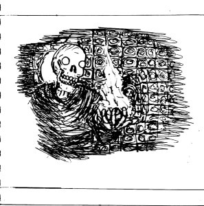 """""""Skeleton Catacomb [Line Art]"""" By C. A. Brown"""
