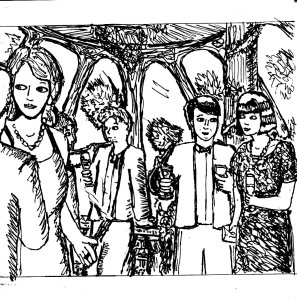 """""""1990s Soiree Awesomeness (Line Art)"""" By C. A. Brown"""