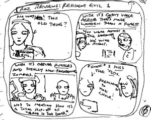 "[CLICK FOR LARGER IMAGE] This was the rough plan for a 'Resident Evil' themed update, about how the very first ""Resident Evil"" game is 'so bad that it's good'"