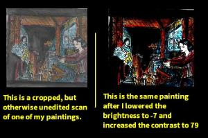 [CLICK FOR LARGER IMAGE] I used this example in another article, but it shows how changing the brightness and contrast levels can make scanned or photographed artwork look a lot less faded