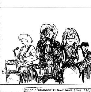 """""""Fan Art - Ghost Dance - Celebrate [1986] (III) (Line Art)"""" By C. A. Brown"""