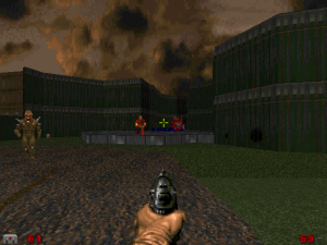 "Well, ok it isn't exactly a ""slaughtermap"", but the combat is surprisingly fast-paced for ""Doom II"" and you'll probably spend at least the first third of the fight armed with nothing more than the basic pistol."