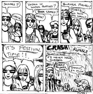 """Damania Revelry - Festival Queue (Line Art)"" By C. A. Brown"