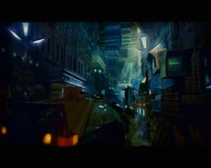 "-... This screenshot from ""Blade Runner"" (1982, remastered in 2007), which also contains a dense cityscape, albeit a lot less 'clean', 'bright' and ''neat' than in the other two things that it inspired."