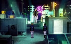 "This is a screenshot from ""Technobabylon"" (2015). Although the background is reminiscent of ""Blade Runner"", it has a much stronger influence from the ""Ghost In The Shell"" anime franchise."