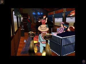 "This is a screenshot from ""The Last Express"" (1997). This game is unusual since the ""cartoonish"" art nouveau graphics were created through both 3D modelling and by rotoscoping (tracing) live-action footage. Even so, an artist still had to decide which details were important enough to trace and which ones weren't."