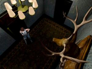 """This is a screenshot from """"Resident Evil: Director's Cut"""" (1997) which shows an overhead perspective. This game (and Resident Evil 1-3 too) is filled with lots of different perspectives."""