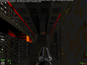 Like this gothic futuristic corridor and post-apocalyptic skybox in the first level...