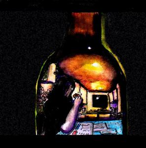 """Self-Portrait In A Beer Bottle"" By C. A. Brown"