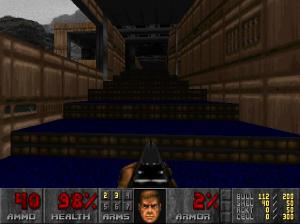 "This is a screenshot from ""Doom"" (1993) [Played using a modern source port]. This classic game uses one-point perspective in order to create the illusion of a first-person perspective."