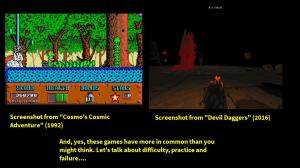 """Two images beside each other. One is from a bright, cartoonish 2D platform game showing an adorable alien creature in a forest. The other is from a first person shooter game, showing a hand pointing towards darkness, skulls and blood. The text below them reads """"And, yes, these games have more in common than you might think. Let's talk about difficulty, practice and failure"""""""