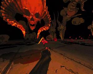 :  Image of an outstretched hand in front of a horde of levitating skeletal monsters. A horned skull looms large in the close foreground.