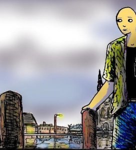 A digital and watercolour image showing a cartoon man standing next to a river, with buildings and lights reflected in it.
