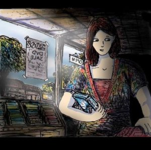 An image of a cartoon woman standing in a closed video shop and holding a DVD boxset. Soft light streams through the windows and the back of the shop is shrouded in darkness.