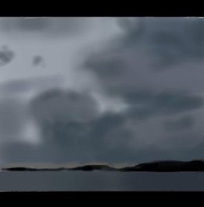 An impressionistic digital airbrush painting of dramatic grey clouds above the sea, with a long and thin silhouetted island on the horizon.