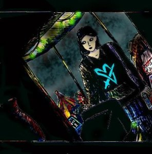 """A cartoon painting of a room shrouded in shadows, shown from a """"Dutch Angle"""" perspective in order to add an atmosphere of horror. A woman dressed in a black hoodie (with a stylised bright blue picture of a heart being stabbed by a sword on it) and a dark blue tiered skirt stands in front of an old CRT television and holds a VHS case. Green Christmas lights dangle from a beam above. Behind her, there is a large window which shows a creepy-looking fairground during stormy weather."""